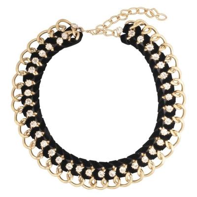 aur negru Braided Necklace cu strasuri