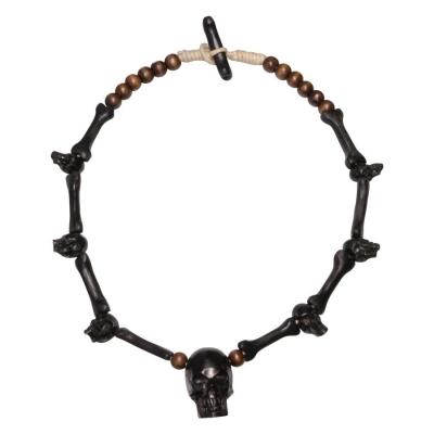 Handcarved craniu negru lemn