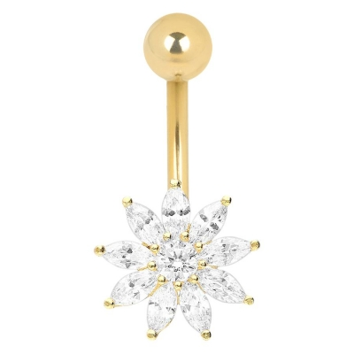 Piercing in buric 18k cristal floare