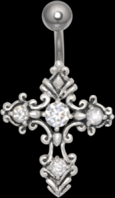 Piercing in buric Navel Gothic cruce