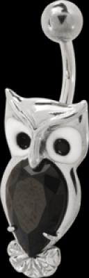Piercing in buric Navel Sweet Owl negru