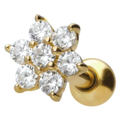 Piercing ureche 18k cristal floare